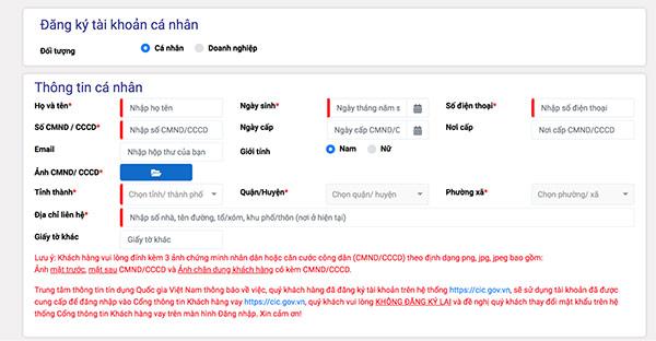 Đăng kí tài khoản để Kiểm tra cic online